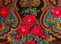 Fragment of traditional Russian shawl. How I love Russian shawls, with their vibrant colors and swirling paisley flourishes!
