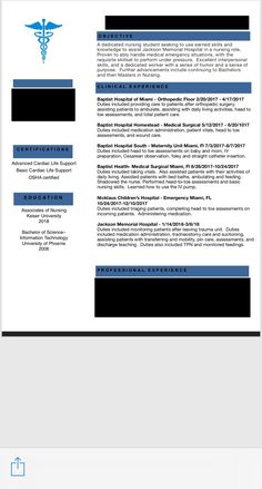my registered nurse resume for a new graduate hope it helps someone