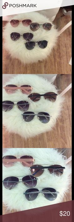 4 Pairs of Aviators Sunglasses 4 pairs of Aviators sunglasses by Steve Madden, Andrea Jovine, Candies, etc. $20   🔶 Please ask all your questions before you purchase. I'm happy😊 to help  🔶 Sorry, no trades or hold. 🔶 Please, no lowball offers. 🔶 Please use the Offer Button 🔶 Bundle for your best prices 🔶 Ships next day, if possible 🎀 Thank you for visiting my closet 🎀 Steve Madden Accessories Glasses