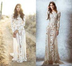 2015 Zuhair Murad Lace Vintage Wedding Dresses Custom Made Long Sleeves Court Train Beach Country Wedding Dresses Crew A-line