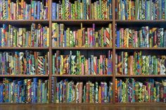 The British Library, an installation by Yinka Shonibare—10K books wrapped in batik designed by the artist.