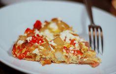 Feta, red pepper and potato frittata