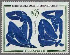 timbres de france/timbre france 1961 - 1320 -   Les nus bleus   tableau de Henri Matisse - Serie tableaux de peintres modernes.jpg