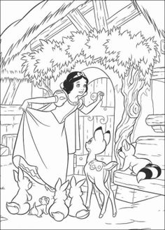 Princess Snow White Knocking the Door Disney Coloring Page - Cartoon Coloring Pages, Disney Cartoon On do Coloring Pages