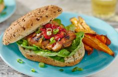 These BBQ chicken burgers have been given a Korean kick thanks to a tangy dark soy sauce & ginger marinade. See more barbecue recipes at Tesco Real Food. Best Bbq Chicken, Korean Bbq Chicken, Tesco Real Food, Sweet Potato Wedges, Cooking Sweet Potatoes, Chicken Skewers, Grilled Chicken Recipes, Barbecue Recipes, Vegetable Side Dishes
