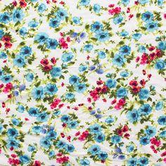 Red Blue Purple Floral on Ecru Cotton Jersey Blend Knit Fabric :: $5.75