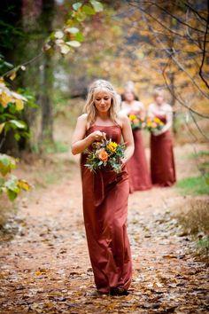 October wedding bridesmaids dresses, Strapless dresses for October wedding, rustic red autumnal bridesmaid, Fall wedding burnt orange dresses