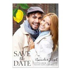 Modern Lemon Photo Save the Date Invitation