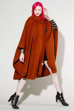 Vintage Rust Alpaca Cape Coat #alpaca #cape #vintage #thriftedandmodern