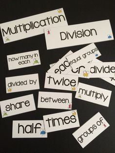 FREEBIE - Multiplication and Division Key Word Posters by Games 4 Learning - This collection contains printables for Multiplication and Division Key Words including posters and words for sorting.