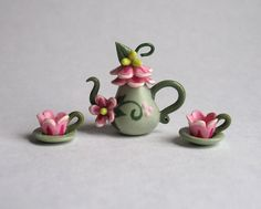 Handmade Miniature Pink Fairy BlossomTeaset by by ArtisticSpirit
