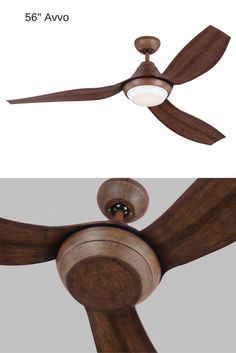 "The unique curved blades of the modern 56"" Avvo ceiling fan by Monte Carlo wrap around the motor housing like flower petals right before bloom, creating a seamlessly integrated and graceful design. Available in three finishes, the Avvo features an LED downlight, and includes a finishing cap for use without the light."