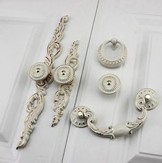 French Chic Handle Pull Knob White Gold Pulls Handles with Back Plate / Kitchen Cabinet Pull Handle Knobs Furniture Hardware