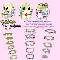 Pokemon Togepi free 3D Hama Beads Perler Artkal pattern tutorial