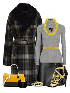 """""""Yellow, Black and Gray"""" by rainbowroad96 ❤ liked on Polyvore featuring SCERVINO STREET, RED Valentino, T By Alexander Wang, Dsquared2, Moschino, ALDO, Charles Jourdan, Kenneth Cole and Swarovski"""