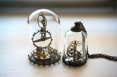 Terrarium de Steampunk cadeau de Noël montre engrenages en verre en forme de dôme collier Vintage montre mouvement chaîne bronze pendentif cadeau personnalisé