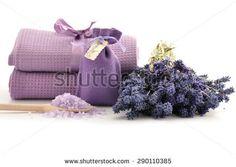 Lavender salt for spa on white background