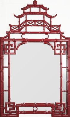 Pagoda mirror finished in red gloss lacquer finish