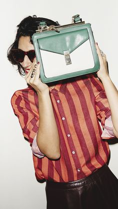 Dig the tortoiseshell sunglasses, red/orange striped shirt & green/white bag combined... Edit 3-PICTURES | ZARA United States