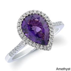 Angara Double Claw Cushion Amethyst Diamond Art Deco Framed Ring Yellow Gold FprJuDH