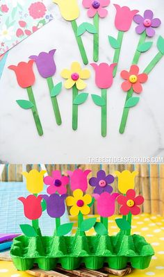 Spring Crafts For Kids, Paper Crafts For Kids, Easy Crafts For Kids, Craft Activities For Kids, Toddler Crafts, Preschool Crafts, Fun Crafts, Art For Kids, Stick Crafts