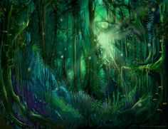 A lush green mystical forest of lights. I& always loved magical looking forests. They intrigue me like there is something hiding that would be out of the range of our simple thought. Forest Light, Magic Forest, Forest Art, Tree Forest, Enchanted Forest Book, Enchanted Forest Coloring Book, Enchanted Wood, Fairy Paintings, Mystical Forest