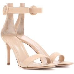 Gianvito Rossi Portofino 85 Suede Sandals (20 440 UAH) ❤ liked on Polyvore featuring shoes, sandals, heels, nude, neutrals, gianvito rossi, heeled sandals, nude shoes, gianvito rossi shoes and suede shoes