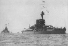 "HMS Marlborough, an Iron Duke Class Battleship. Launched 1912, fought at Jutland receiving damage from a torpedo strike. In 1919 bought members of the Russian Imperial family out of Russia. Armed with 5 x twin turrets of 13.5"" guns. Was fitted with 2 3"" AA guns in 1914 making her the 1st RN battleship to be fitted with AA guns."