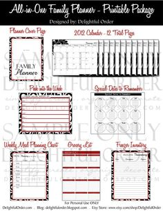 All in One  Family Planner  24 pages PDF by DelightfulOrder, $32.00