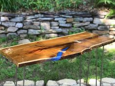 This item is unavailable Live Edge Console Table, Live Edge Table, Clear Resin, Table Legs, Outdoor Furniture, Outdoor Decor, Diy Projects, Art Ideas, Room Ideas