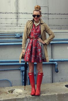 design darling, the boutique  {If only every rainy day were so chic! Blair pairs a favorite BB Dakota dress with red Hunter wellies, reminding us that inclement weather is no excuse for dreary dressing!}