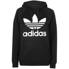 Trefoil Hoodie by Adidas Originals (260 RON) ❤ liked on Polyvore featuring tops, hoodies, jackets, shirts, outerwear, cotton shirts, sports shirts, cotton hoodies, stripe shirt and sleeve shirt