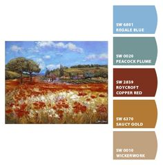 Paint colors from Chip It! by Sherwin-Williams, these are great colors to me Desert Colors, Teal Colors, Room Colors, House Colors, Paint Colors, Gold Color Palettes, Gold Palette, Color Trends, Color Combos