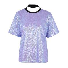 Lilac Sequin T-Shirt Co-Ord by Jaded London (230 BRL) ❤ liked on Polyvore featuring tops, t-shirts, shirts, round neck t shirt, scoop back t shirt, over sized t shirt, polyester t shirts and oversized tees