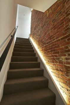 using led strip lighting makes the brick wall the focal point while making it ea. Basement Stairway, Stairway Walls, Stairway Lighting, Basement Lighting, Strip Lighting, Wall Lighting, House Lighting, Accent Lighting, Bathroom Lighting