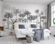 Sketch Tropical Trees Leaves Flowers Floral Wallpaper Restaurant Living Room Cafe Office Bedroom Mural Home Wall Art Removable Materials; Peel and Stick Vinyl or Non-Woven Embossed removable Wallpaper FEATURES: Wallpaper; Look Wallpaper, Forest Wallpaper, Custom Wallpaper, Wall Wallpaper, Paper Wallpaper, Wallpaper Online, Photo Wallpaper, Bedroom Murals, Wall Murals