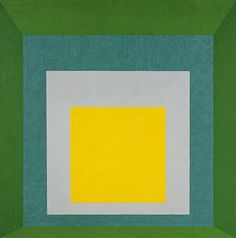 1959: Albers created a series of paintings titled Homage to the Square. These works explore the artist's endless fascination with the discrepancy between how colors look when seen one at a time & how they appear in different combinations. In his writings on color theory, he noted that the way we experience color varies based on our individual personalities & on factors such as hue, dimension, and placement.