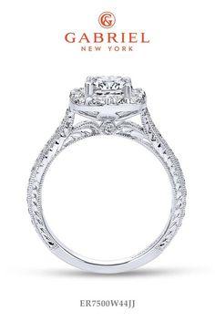 Halo Cushion Cut White Gold Engagement Ring