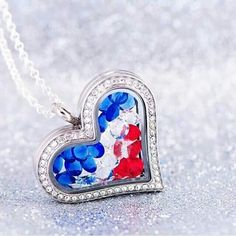 Origami owl heart locket with our red, clear and blue stones.  Just click on the pic to order!