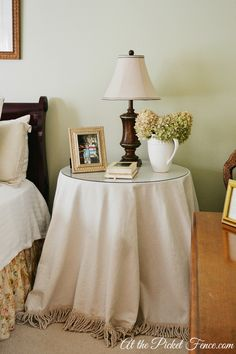 skirted round table nightstand atthepicketfence.com