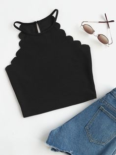 Laamei Crop Tops Women 2019 Solid Blue Scallop Trim Halter Top New Summer Women& Sleeveless Slim Camisole Women Sexy Tee Top Halter Tops, Cami Tops, Cami Crop Top, Women's Tops, Sleeveless Tops, Halter Neck, Tank Top Outfits, Cute Outfits, Stylish Outfits