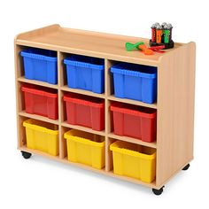 Storage Unit   9 Coloured Tubs - Designed to meet the demands of the classroom, this storage unit is manufactured from 15mm mfc with a contemporary beech finish. With lockable castors and 9 coloured tubs.