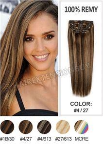 "15"" #4/27 Brown Mixed 7pcs Straight Full Head Set Clip In Human Hair Extension [CHS0319]"