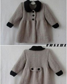 NEW Little Pricess Coat For 2 - Babykleidung Girls Knitted Dress, Knit Baby Dress, Knitted Baby Cardigan, Knit Baby Sweaters, Baby Pullover, Knitted Coat, Baby Booties Knitting Pattern, Baby Knitting Patterns, Smocked Baby Dresses