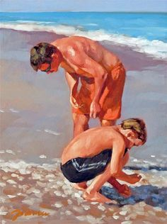 """Daily Paintworks - """"The Supporter--Series Painting of Father and Child on the Beach"""" - Original Fine Art for Sale - © Joanna Bingham"""