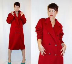 Vintage 90s Red Wool TRENCH COAT Double Breasted Winter DUSTER Jacket ~ $78.00