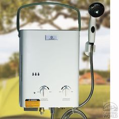 Enjoy a hot outdoor shower anywhere with a portable tankless water heater. The Eccotemp Portable Tankless Water Heater is the best selling outdoor portable tankless heater. Don't be left with a col Solar Energy Panels, Best Solar Panels, Solar Energy System, Solar Power, Motorhome, O Gas, Solar Projects, Camper Makeover, Remodeled Campers