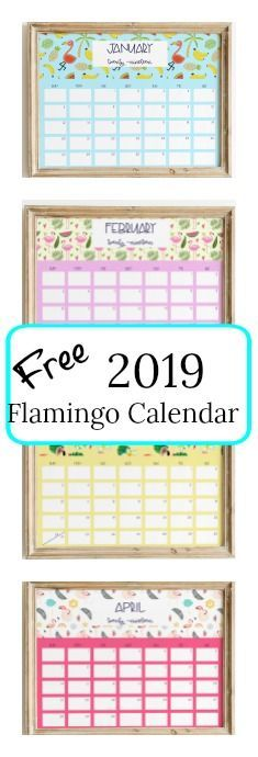 Here is a colorful and happy 2019 flamingo calendar for you to plan out your year with exciting things to do. You can also print these to give to your flamingo friends.   #flamingo #freecalendar #2019calendar #printable #freeprintable