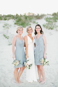 Beachy 'maids: http://www.stylemepretty.com/north-carolina-weddings/2015/04/20/fall-beach-wedding/   Photography: Kaytee Lauren http://kayteelauren.com/