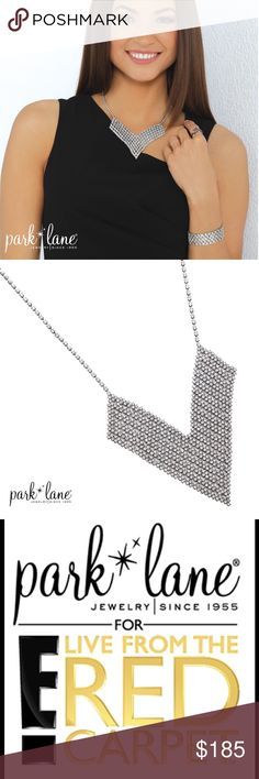 "LA VIE NECKLACE E! RED CARPET line LA VIE NECKLACE  What appears to be a collar of glittering ""fabric"" is actually row-upon-row of sparkling crystals that literally drape your neckline with opulence. Hematite finish setting. Park Lane Jewelry Necklaces"
